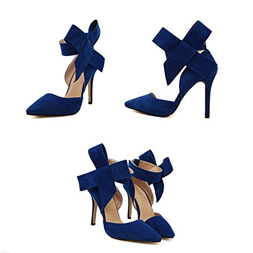 Manyis Fashion Lady Point-Toe Suede High Heel Womens Shoes With Big Bowknot US 7 Blue 2dHmvhr9LJ