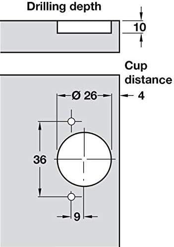 Topfband Eckanschlag Schrank-Scharnier 95/° Topfscharnier Stahl vernickelt Gedotec Caravanscharnier ab 12 mm T/ürdicke Kurzarmscharnier zum Einpressen 2 St/ück M/öbelscharnier mit Montageplatte