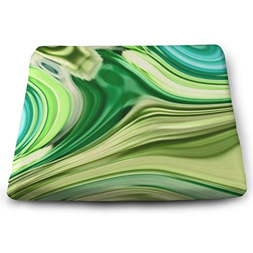 Pamdart Abstract Turquoise Lime Green Swirls Customized Square Seat Cushion Memory Cotton Zipper Detachable for Dining Table Patio - Swirl Zipper