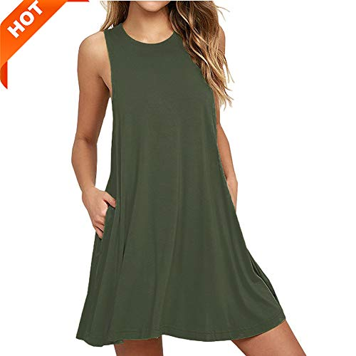 (Mifidy Sleeveless Loose Tank Dress, Women Plue Size Casual Plain Scoop Neck Fit Tank Plus Size Pockets Casual Swing T-Shirt Tunic Dresses Girls Army Shirt Plain Sleeveless Dress(XX-Large,Army)