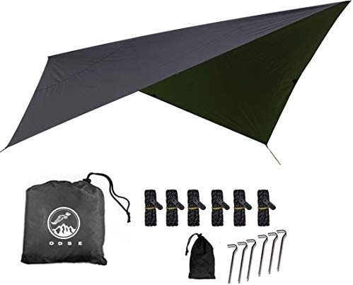 ODSE 10×10 Feet Rain Fly Hammock Tent Tarp for 2000PU Waterproof Protection – Large Canopy is Portable and Provides Ideal Shelter for Your Camping Hammock or Tent