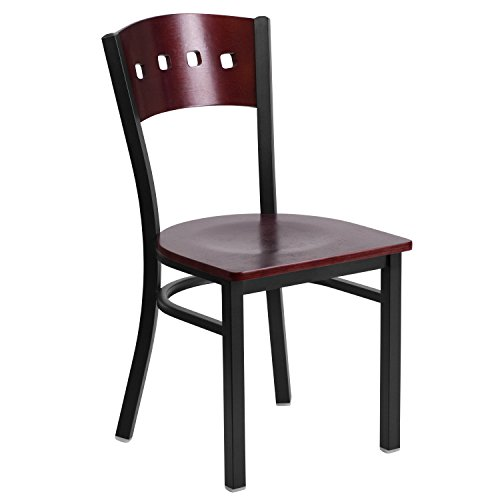 Black Fabric Mahogany Frame (Flash Furniture HERCULES Series Black 4 Square Back Metal Restaurant Chair - Mahogany Wood Back & Seat)
