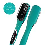 Hair Straightening Brush Straightener - Ceramic Professional Iron, 2.0 Negative Ions, Electric Dual Voltage, Auto Shut Off, Digital Controls for Women with Curly Natural Short Black Hair Travel Entil