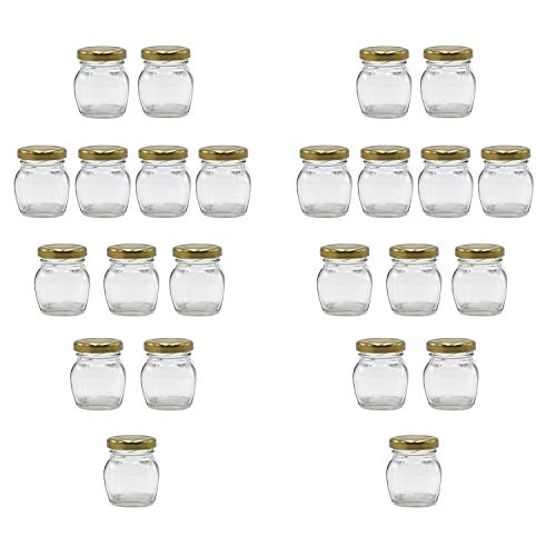 U-Pack 2oz Glass Jar With Gold Lid For Honey Jam Spice pack of 24 sets (Flat Glass Jars With Lids)