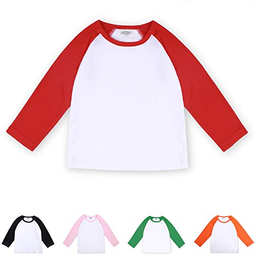 - CloudCreator Toddler Baby Girls Boys Long Sleeve Shirts Raglan Shirt Baseball Tee Cotton T-Shirt