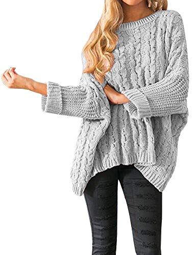 - Womens Oversized Sweaters Plus Size Long Sleeve Cable Knit Chunky Pullover Sweater Jumper Tops Grey