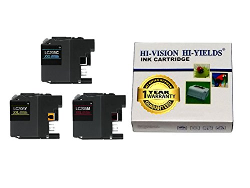 HI-VISION® Compatible Brother LC205 XXL Super High Yield Cyan,Yellow,Magenta ink cartridges replacement for MFCJ4320DW,J4420DW,J4620DW,J5520DW,J5620DW,J5720DW Color printer LC205C,LC205Y,LC205M 3pks