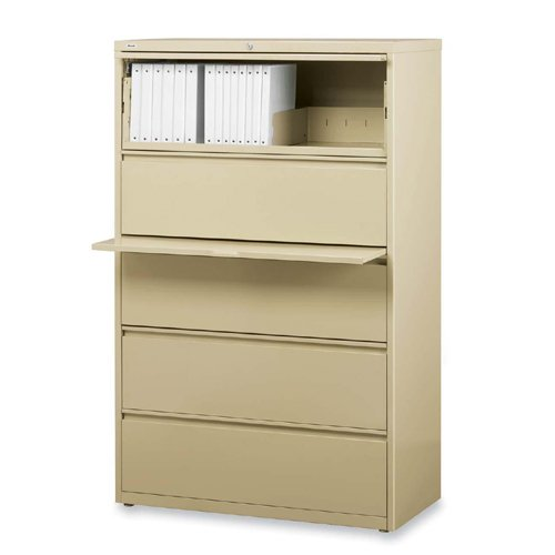 Lorell 5-Drawer Lateral File, 36 by 18-5/8 by 67-11/16-Inch, Putty by Lorell
