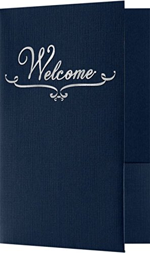 Welcome Folders - Silver Foil Stamped Design - Dark Blue Linen (25 Qty) | Perfect for Hotel Welcome Baskets, Wedding Programs, Simars, Brochures and so Much More! | Two Pockets | WEL-DDBLU100-SF-25