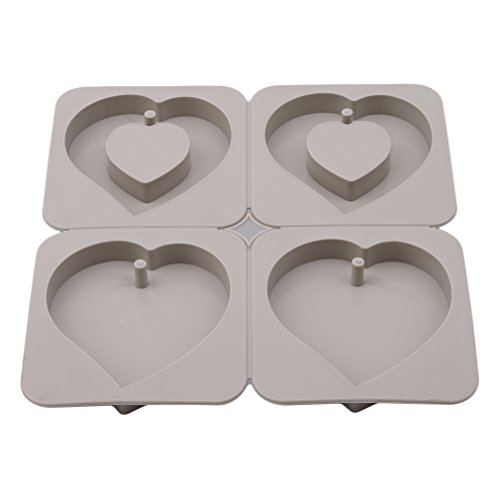 GUAngqi 4-Cavity Soap Molds Silicone Candles Aroma Wax Flowers Tablets Mold DIY Wax Plaster Mould Heart Shape Soap Making Mold