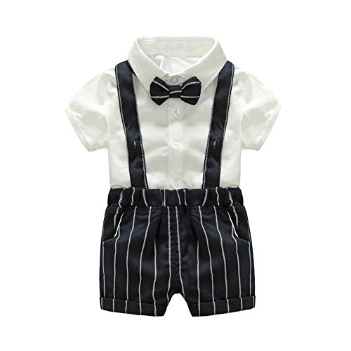 xirubaby US Baby Boys Bowtie Gentleman Romper Jumpsuit Overalls Rompers Sets (70/0-6 Month, -