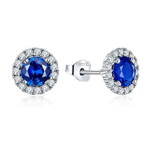 JO WISDOM 925 Sterling Silver Round Gemstone and Blue Created Sapphire Halo Stud Earrings by JO WISDOM
