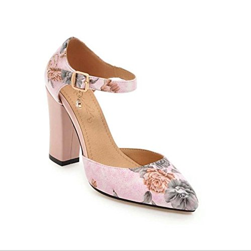 PU de la Mujer Confort Novedad Tacones Chunky Heel Apliques Hebilla Apliques para Fiesta de Boda y Noche Blanco Negro Rosa Azul Talla 34-39 Rosado