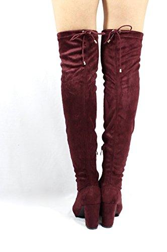 Jacobies Over The Knee Chunky High Heel Block Chunky Thigh High Round Toe Boots Wine (Nia) XwsqdN