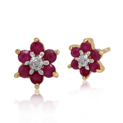 Gemondo Bague Or Jaune 9ct Rubis & Diamant Floral Cluster de Stud Boucles d'oreilles et Collier de 45cm