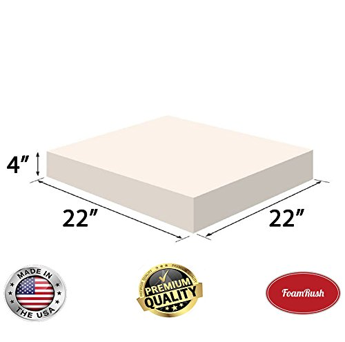 "FoamRush 4"" x 22 x 22"" Upholstery Foam High Density Firm Foam Soft Support (Chair Cushion Square Foam for Dinning Chairs, Wheelchair Seat Cushion Replacement)"
