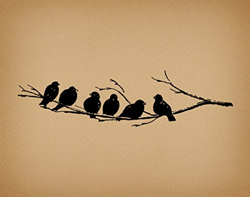 Vintage Birds on Tree Branch Wall Art Print with a Cute Antique Birds Illustration in a Vintage Aged Brown Paper Style - Office, Bedroom, Living Room, Nursery Room Home Decor (11 x 14 Inches) by Sparrow House Prints