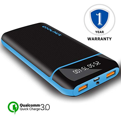 Coolnut 20000 mAh Power Bank QC (Quick Charge) High Speed with Dual Outputs for All Smart Phones-...