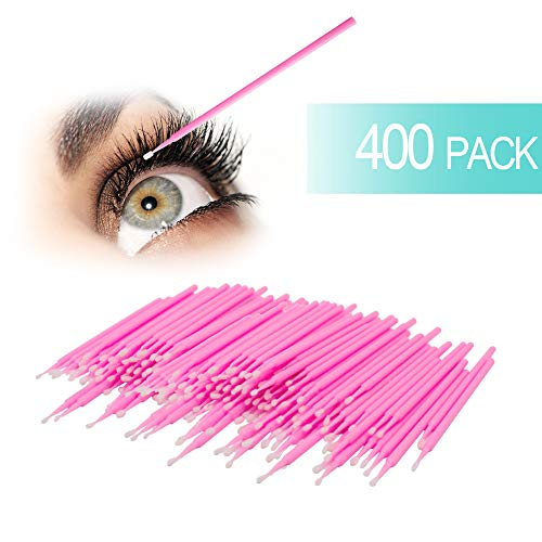GoWorth 400Pcs Durable Micro Disposable Eyelash Extension Individual Applicators Mascara Brush for Make up and Clean and Compatible and Eyelash Dedicated