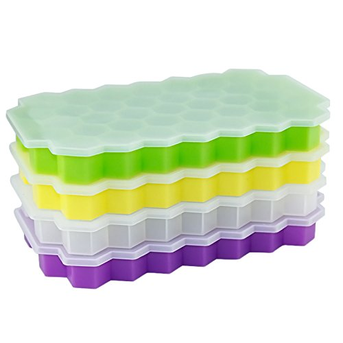 URTop 2Pcs Silicone Hexagon Ice Cube Tray with Lid Flexible Rubber 37 Ice Cubes Molds Ice Cream Maker Kitchen Bar Drinking Accessories (At Random Color)