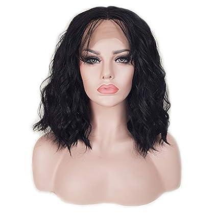 MISSYVAN Peluca de pelo corto ondulado, pelo sintético, pelucas de encaje sintético con encaje