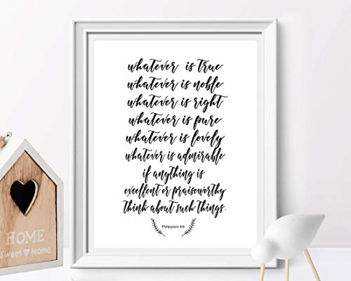 Arvier Philippians 48 Whatever is True Think About Such Things Bible Verse Christian Wall Art Scripture Printable Home Decor Inspirational]()