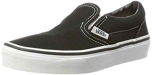 Vans Kids Classic Slip-On (Little Big Kid), Black/True White 2.5 M -