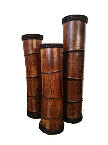 - Floor Vases, Wooden Bamboo Vases, Garden Decor, Bamboo Decor, Primitive Country Decor, Set Of 3 Vases, Flower Vases