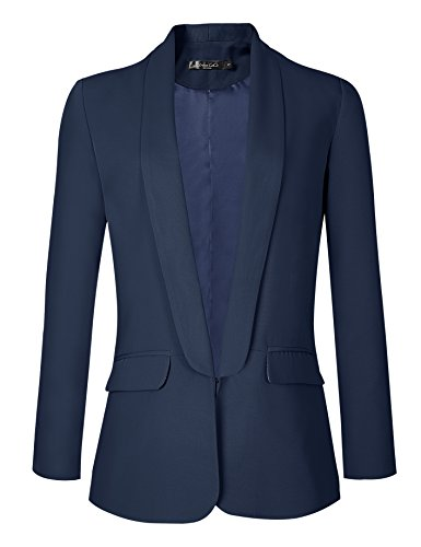Urban CoCo Women's Office Blazer Jacket Open Front (M, Navy Blue)