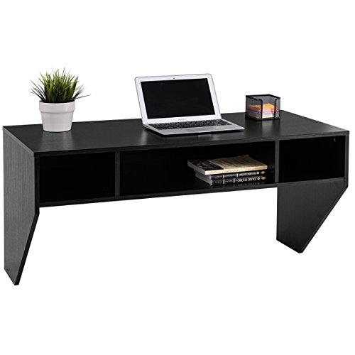 giantex wall mounted floating computer desk with storage shelves home office furni home work. Black Bedroom Furniture Sets. Home Design Ideas