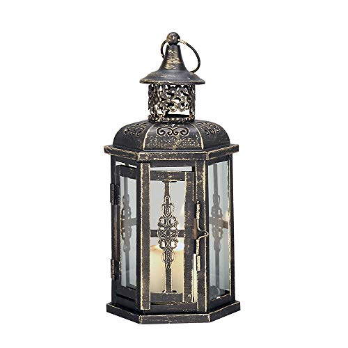 JHY Design Decorative Lanterns-10inch High Vintage Style Hanging Lantern, Metal Candleholder for Indoor Outdoor, Events, Parities and Weddings(Black with Gold Brush) (Lantern Large Metal)
