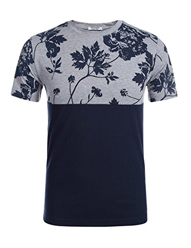 (HOTOUCH Men's Hipster Hip Hop Graphic Print Mesh Trim Longline Jersey T-Shirt,Navy/Gray,Small)