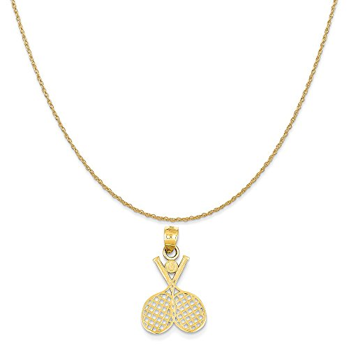 14k Yellow Gold Double Tennis Racquet Charm on a 14K Yellow Gold Rope Chain Necklace, 20