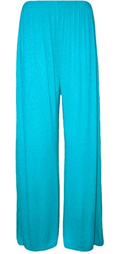 Ladies Womens Wide Fancy Wear Turquoise svasata a Fashions XXL Pantaloni Baggy Islander Party Palazzo Leg zampa Plain S Pants z5cREvqUw