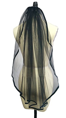 Dobelove Women's Black Ribbon Edge with Comb 1 Tier Wedding Veil