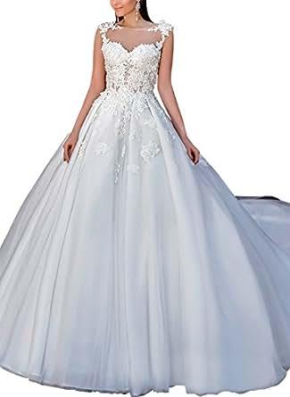 Yanghui Women's Illusion Neckline Ball Gown Wedding Dresses Elegant Satin Bridal Gowns White US22W