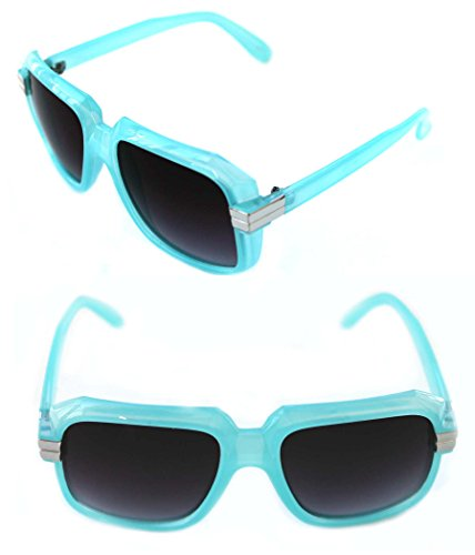 Men's Women's Hip Hop 80's Gazelle Vintage Retro Sunglasses 607 Grandmaster Retro 80's (Light Blue Silver) by KruegerHaus