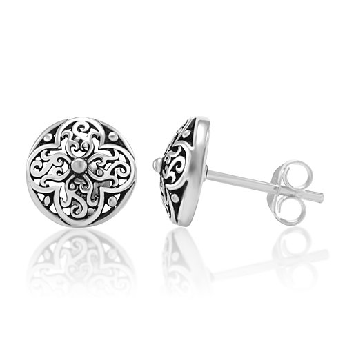 925 Oxidized Sterling Silver Tiny Filigree Flora Design 10 mm Post Stud Earrings