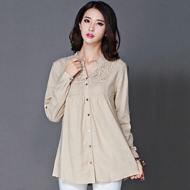 Mujer Camisas y blusas de mujer sólido color azul y amarillo camisa, camisa manga larga, color - marrón claro, tamaño XL: Amazon.es: Deportes y aire libre