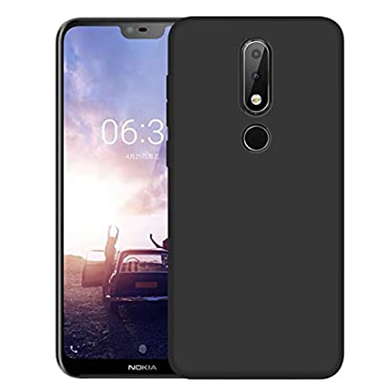 sports shoes dbe02 d2a75 Clorox Nokia 6.1 Plus Back Cover Candy Line Plain Black Rubber Back Cover  for Nokia 6.1 Plus (Black)