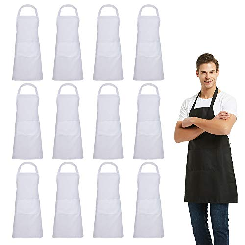(DUSKCOVE 12 PCS Plain Bib Aprons Bulk - White Commercial Apron with 2 Pockets for Kitchen Cooking Restaurant BBQ Painting Crafting)