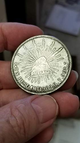 (1909 MEXICO Mo GV SILVER LIBERTAD 1 PESO-NICE DETAIL & AFFORDABLE PRE WWI ISSUE-VERN'S CARD & COIN Dollar XF)