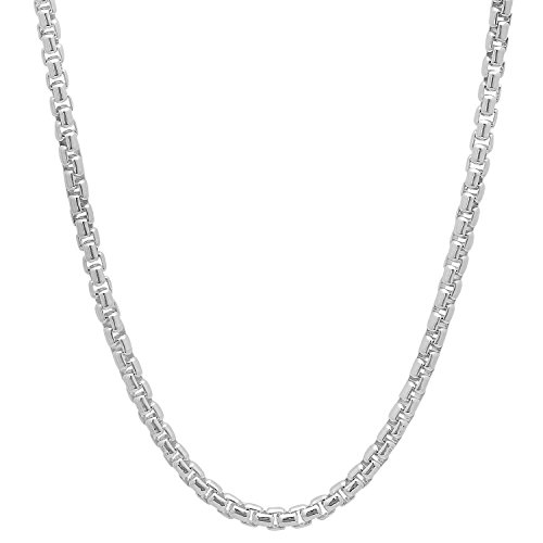 3.5mm Solid 925 Sterling Silver Rounded Box Link Italian Crafted Chain, 18 inches + Microfiber Jewelry Polishing Cloth