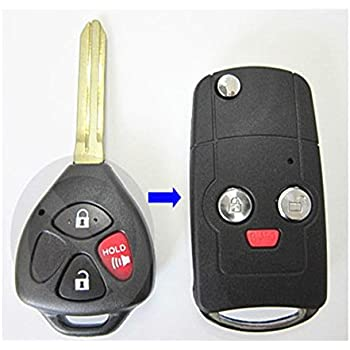 ALIWEI Replacement Keyless Entry Remote Case 2 Buttons Flip Folding Car Key fob Shell for Toyota Camry Corolla Yaris Hilux with Uncut Blade Blank Black