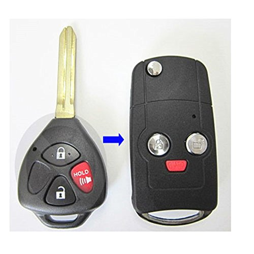Price comparison product image New Flip Folding Remote Key Replacement Shell Keyless Fob Case Button Uncut Blade Blank 3 Buttons fit for 2010 2011 2012 Toyota RAV4
