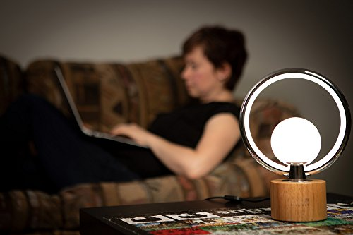 Modern LEDGloriole Desk Lamp with Unique Shade – Bedroom Lamps with Natural Wooden Base – Luxury Bedside Table Lamp – Well-Designed LED Light Perfect for Bedroom or Office by LEDGloriole (Image #4)