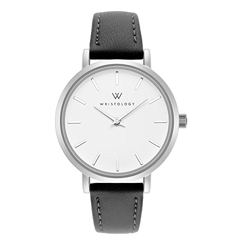 Face Metal Band (WRISTOLOGY Charlotte Womens Watch Silver Metal Charcoal Grey Leather Ladies Changeable Strap Band)