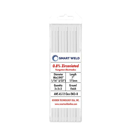 """White TIG Welding Tungsten Electrode Assorted 9 pack (.040"""" 1/16"""" 3/32"""", 3 each)"""