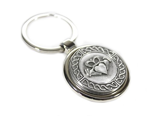 Claddagh Medallion - Irish Keychain Claddagh Weave Stainless Steel & Pewter Made in Ireland