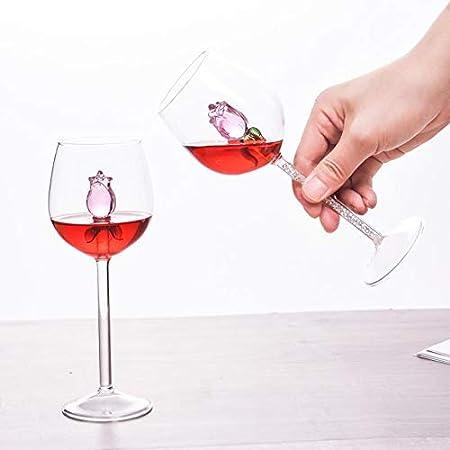 iSpchen Copas de Vino, Copas de Champán de 300 Ml Copa de Vino Tinto Creativa Copas de Vino Tinto Rosa Copas de Vino de Cristal Copa de Champán Copa de Vino Rosado Para Boda, Navidad, Bar